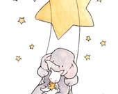 Swinging Stars and Moonbeams -- Nursery Art Illustration Print,