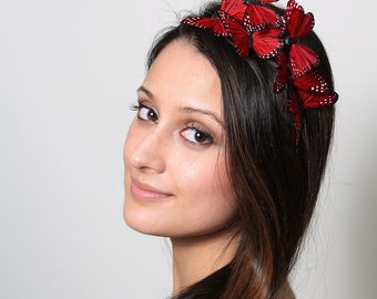 Red Butterfly Headband - woodland, fairy tale, rouge