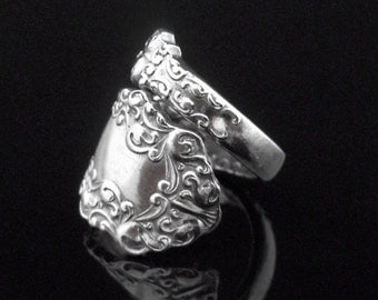 Antique Silver Spoon Ring, Berkshire 1897, Recycled Eco Friendly Silverware Jewelry