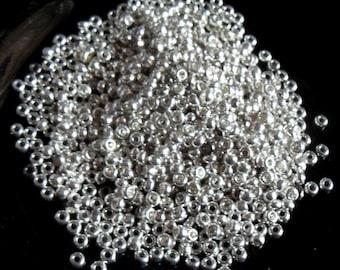 Silver Metallic Seed Beads Glass. size 8/o, 20grams