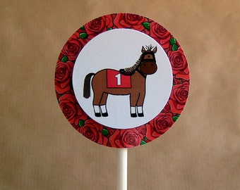 kentucky derby racehorse roses cupcake cake toppers decorations can be personalized - set of 12