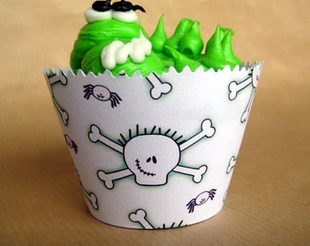 zombie skull and purple spider boy (or girl) birthday party cupcake wrappers decorations - set of 12
