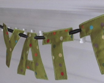 Name Banner in Olive Green and Polka Dots Fabric Banner for Room Decoration or Baby's Room/Nursery and Shower Decoration or Shoower Gift