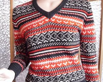 Red Black and White V Neck Sweater