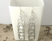pop tabs earrings - pair - 3 pop tabs chainmaille on the side