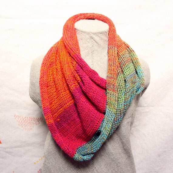 Knitting Summer Scarves : Chunky cotton knit infinity scarf rainbow for fun