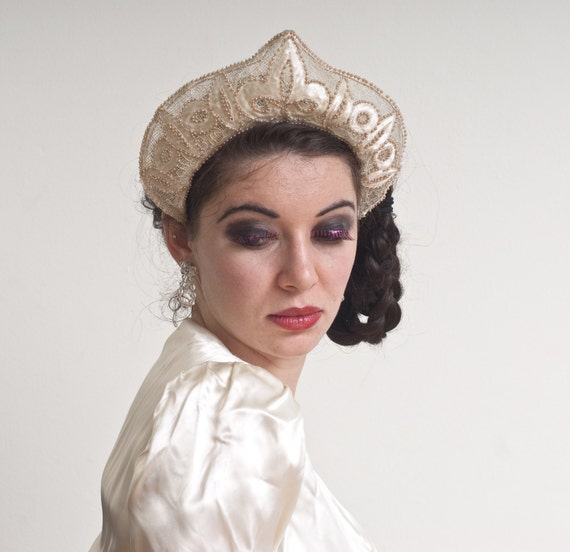 Vintage 1940s Bridal Headpiece / Beaded Kokoshnik Wedding Crown