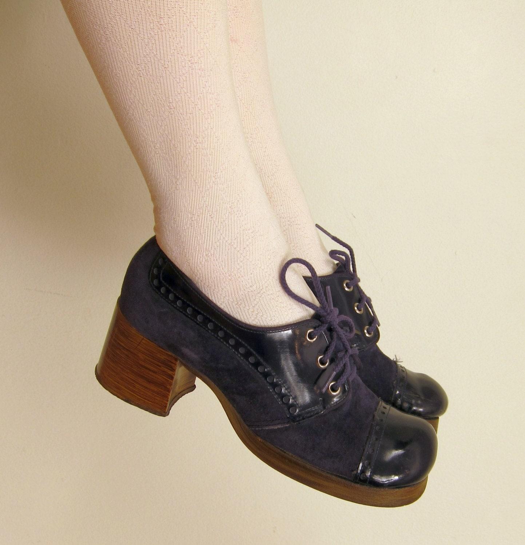 vintage 60s 70s blue suede shoes lace up platform heels