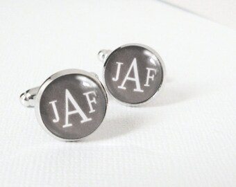 Gray Metropolitan Monogram Custom Personalized Cufflinks in Silver - Your Choice of 3 Initials for Graduate Groom or Father's Day