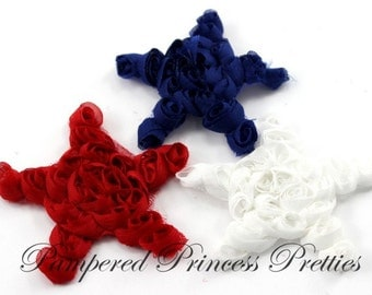 """Set of 12-Chiffon Stars-You Choose Color-2.5""""-Attached to Mesh and Required Slight Trimming (Check Stock List Below)"""
