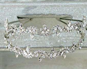 Rhinestone Bridal headpiece, Swarovski Crystal, Double Headband - Celeste - Made to Order