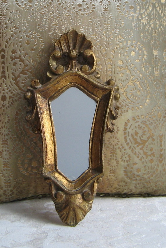 Vintage Ornate Gold Mirror Carved Wood Italian Florentine Wall