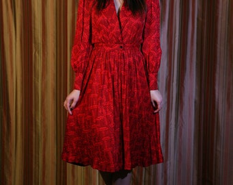Vintage 80s Red Silk Dress by Adele Simpson