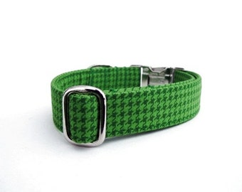 Houndstooth Dog Collar - Emerald Houndstooth with Nickel Hardware
