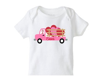 Valentines Day Truck Heart TShirt or Bodysuit Boys or Girls