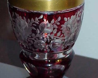 Antique Ruby Cut to Clear Bohemian Heavy Gilded Moser Vase Vintage