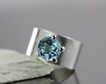 Sky Blue Topaz Gemstone with Wide Textured Band - Solid Sterling Silver - Wedding Engagement Promise Ring