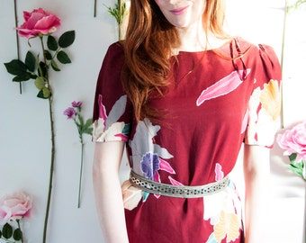 Orchid, French Vintage, 1970s Burgundy Floral Dress, from Paris