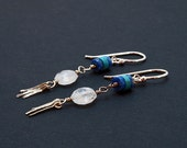 Moonstone, Denim Lapis Lazuli and Turquoise earrings