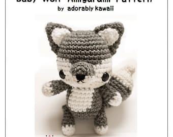 Baby Wolf Amigurumi Pattern, Woodland Animal Plush, Wolf Nursery Toy, PDF Crochet Pattern, Crochet Amigurumi Pattern, DIY Jointed Wolf