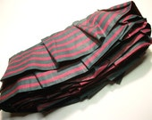 7 Yards Fabric Trim Pleated Ruffles Striped Cotton in Magenta & Teal FUN Craft supplies for sewing