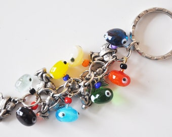 Angel Key Chain Handmade Colorful Evil Eye Silver Plated