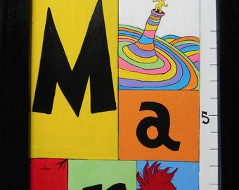 Dr. Suess Growth Chart---Hand Painted Personalized Framed Wooden Growth Chart