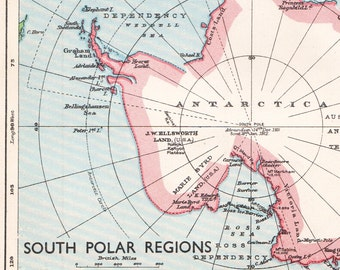 ANTARCTICA map, South Polar regions map, 1930s South pole map