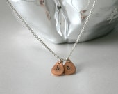 Tiny Letter Necklace, TWO Letters Copper Teardrop Personalized Necklace, Monogram Necklace, Initial Jewelry
