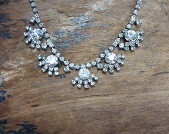 1960s Rhinestone Necklace- Flower R/S Necklace-