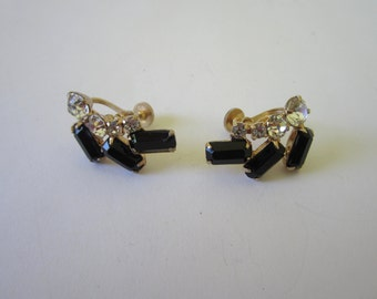 1960s Earrings. Black Clear Stones. Retro Earrings