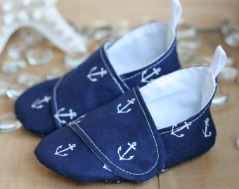 Baby Boy Shoes Navy Anchor Print Loafers - Nautical