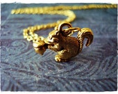 Gold Squirrel Necklace - Antique Gold Pewter Squirrel Charm on a Delicate Gold Plated Cable Chain or Charm Only