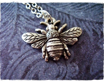 Silver Bumble Bee Necklace - Antique Pewter Bumble Bee Charm on a Delicate Silver Plated Cable Chain or Charm Only
