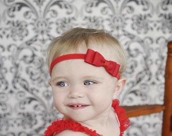 Red Hair Bow Headband. Red Baby Headband. Baby Girls Hair Accessories. Baby Hair Accessories. Red Bow Headband