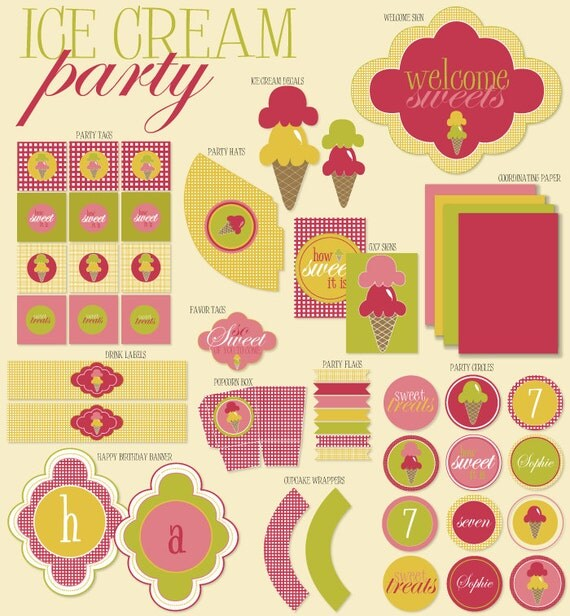 Ice Cream Party PRINTABLE DIY Full Birthday Collection by Love The Day