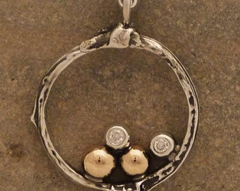Sterling Silver and 14k Gold Family tree Pendant with 2 diamonds ,custom made to order