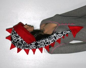 Long Fleece Hat Red Black White Dragon Dinosaur Tail Fleece Winter Ski