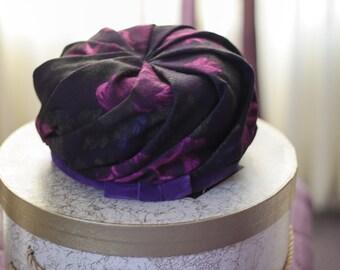 Vintage D'orsay Design Hat Velvet Trim Purple Print Original Designer Easter Hat