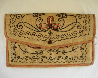 VINTAGE BOHO BAG Natural Leather Trimmed Embroidered Handbag Purse Clutch Handbag