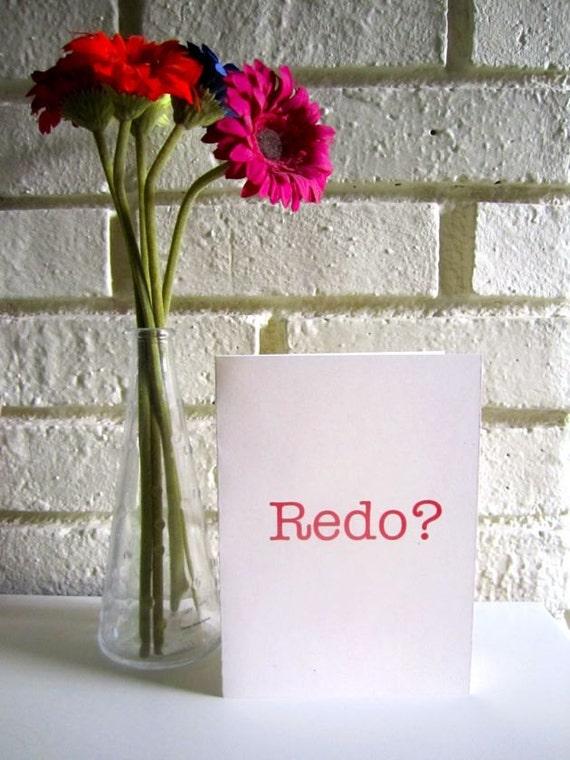 "Apology Greeting Card ""Redo"" I'm Sorry"