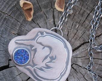 Sterling Unicorn Pendant Sparkling Violet  Blue Drusy