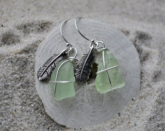 Seafoam Green Seaglass Feather Earrings - Sterling Silver