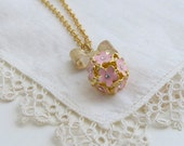 Pink Flower Bouquet Necklace With Bow - Shabby Chic - Gold Toned