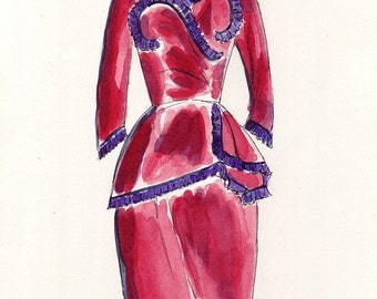 Red Vintage Dress Original Watercolor Painting - Red Suit - Fashion Illustration - Original Art, 7x10