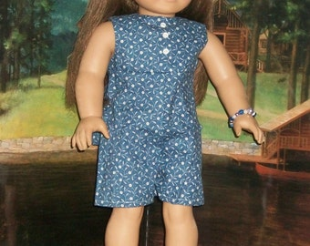 American Made 18inch Doll Blue Calico Coulotte Dress with Bracelet and Jellies