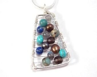 Semi Precious Stone Pendant Wire Wrapped Jewelry Turquoise, Aquamarine, Lapis Lazuli