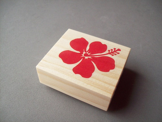 Hibiscus Flower Rubber Stamp - Hawaiian Tropical Tiki Luau Wedding Decor