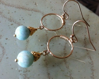 Amazonite Earrings in Gold Filled and Vermeil