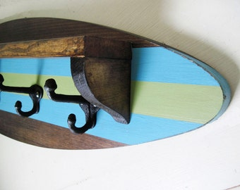 Surfboard Shelf Coat Rack in Dark Stain,Turquoise and Green 28""